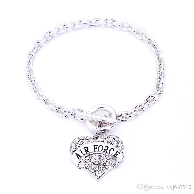 Новое прибытие сплава цинка шипованных стразами Кристалл ВВС форме сердца кулон браслет звено цепи модные браслет
