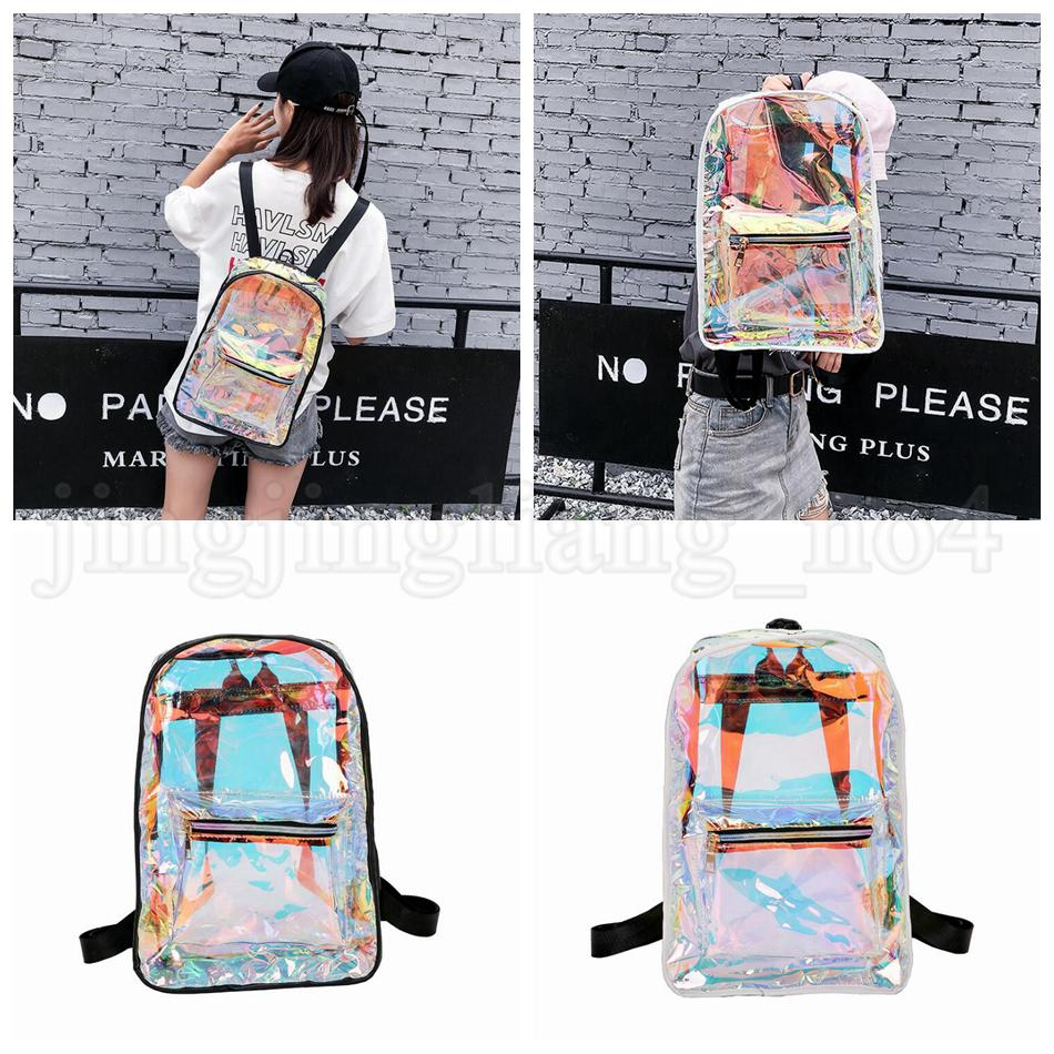 Women Hologram Laser Backpack Holographic School Bag Waterproof Beach Travel Laser Shining Jelly Shoulder Bags Outdoor Bags OOA5212
