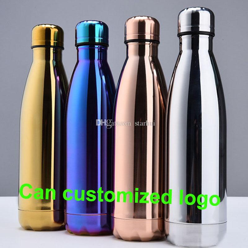 Su Bardağı Yalıtım Kupa 500 ML Vakum Şişesi Spor 304 Paslanmaz Çelik Kola Bowling Şekli Seyahat Kupalar Özelleştirilmiş logo WX-C19