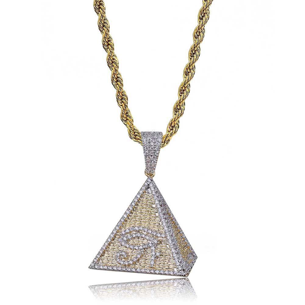 Hip Hop Iced Out цвета золота гальваническим египетская пирамида Глаз Horus ожерелье Micro Асфальтовая CZ chrám ювелирные изделия