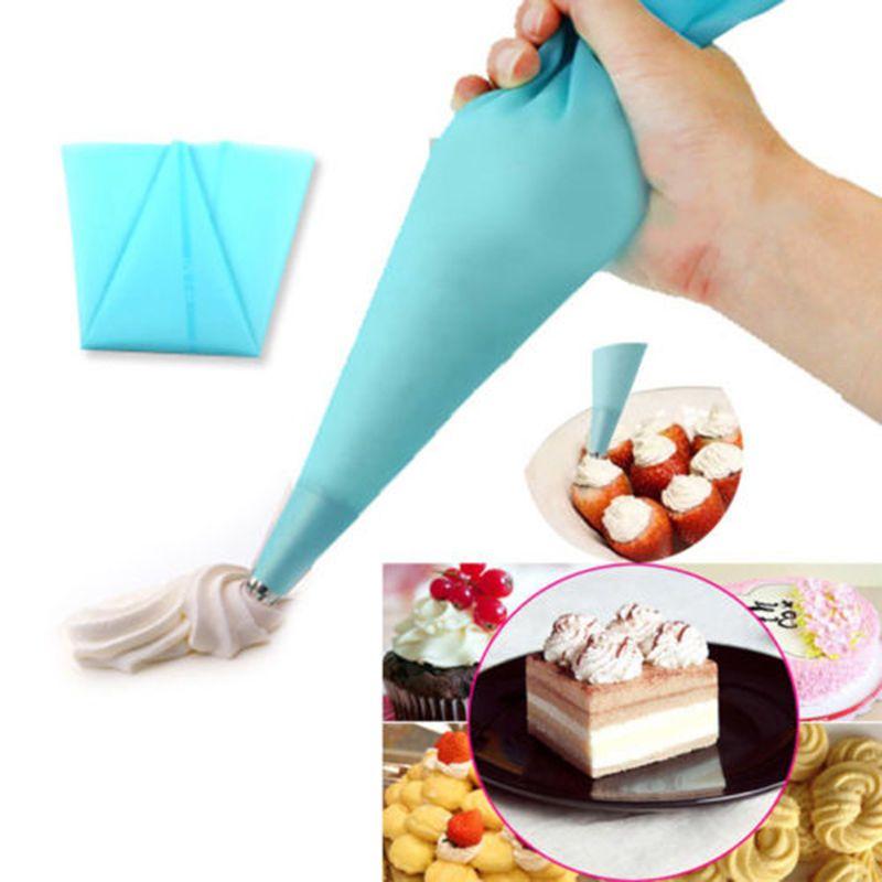 8 Teile / satz Silikon Küche Zubehör Zuckerglasur-friedliche Creme Spritzbeutel + 6 Edelstahl Düsensatz DIY Kuchen Dekorieren Lieferungen