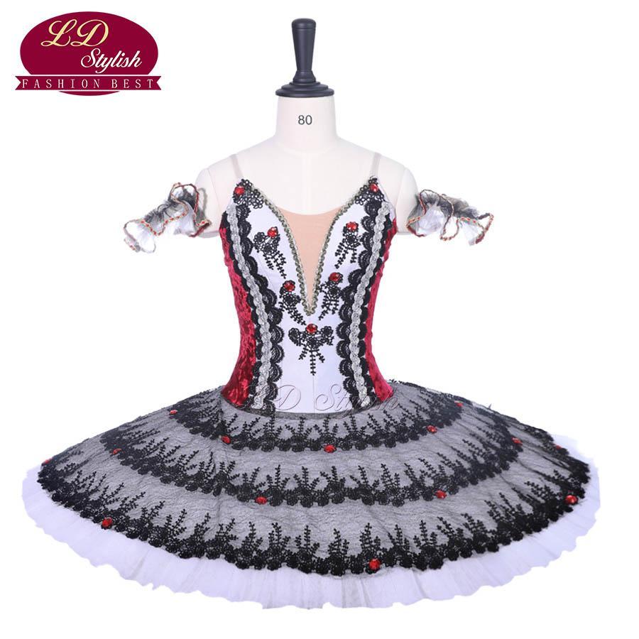 Neue Ankunft Schwarz Rot Professionelle Ballett-ballettröckchen Kostüme Rote Schuhe Leistung Ballett Apperal Frauen Dancewear Mädchen Kleid