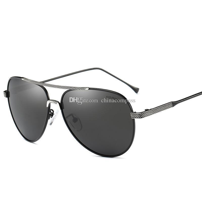 O envio gratuito de nova moda piloto polarizada óculos de sol praia flash óculos óculos de sol de metal condução pesca para homens mulheres A380