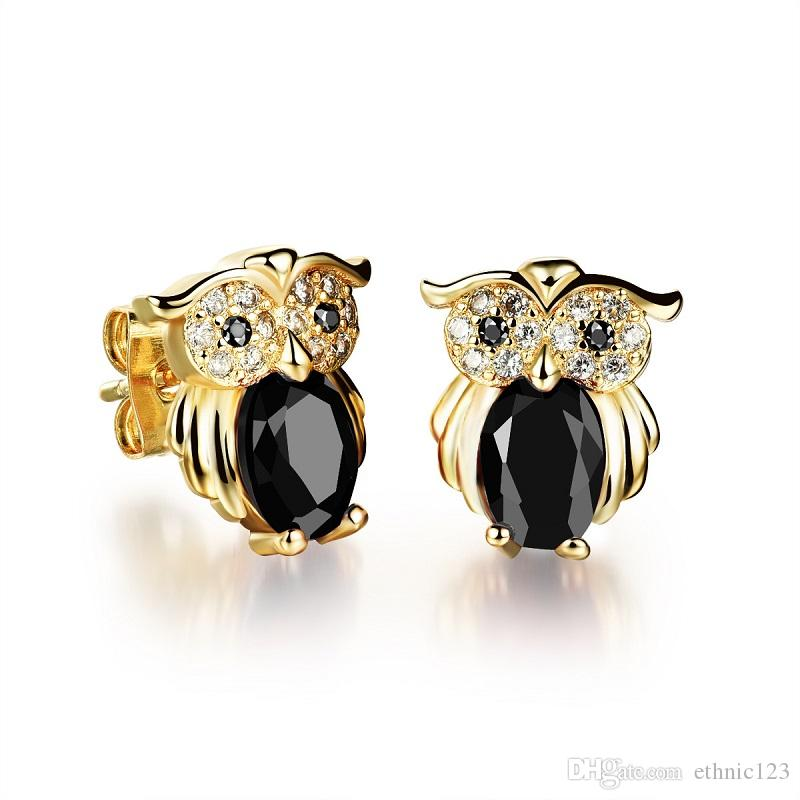 Gold Color Fashion Simple Lady's Gemstone Owl Earrings 18K Gold Plated Stainless Steel Earring Jewelry Gift for Women Lady 637