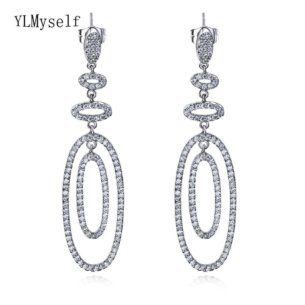 Longa gota oval das mulheres brinco cor Branca jóias micro pavimentar cubuic zirconia declaração de jóias brincos C18111901