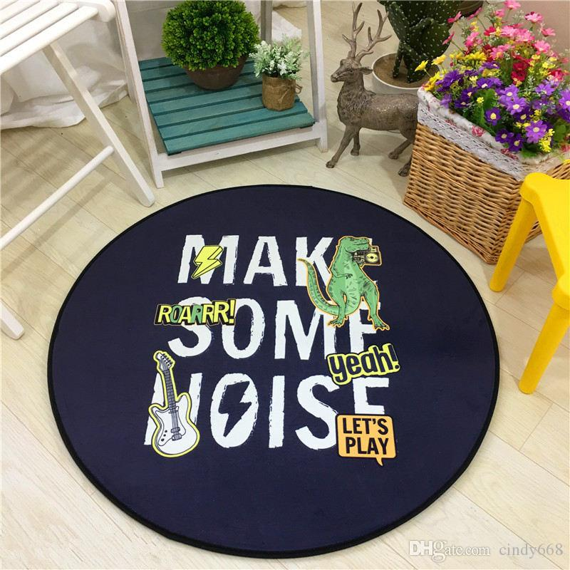Children's Room Circular Mattress Cartoon Patterns Game Room Super Soft Carpet Chair Skid Pad Living Room Bedroom Mat Anti-slip Kitchen Rug
