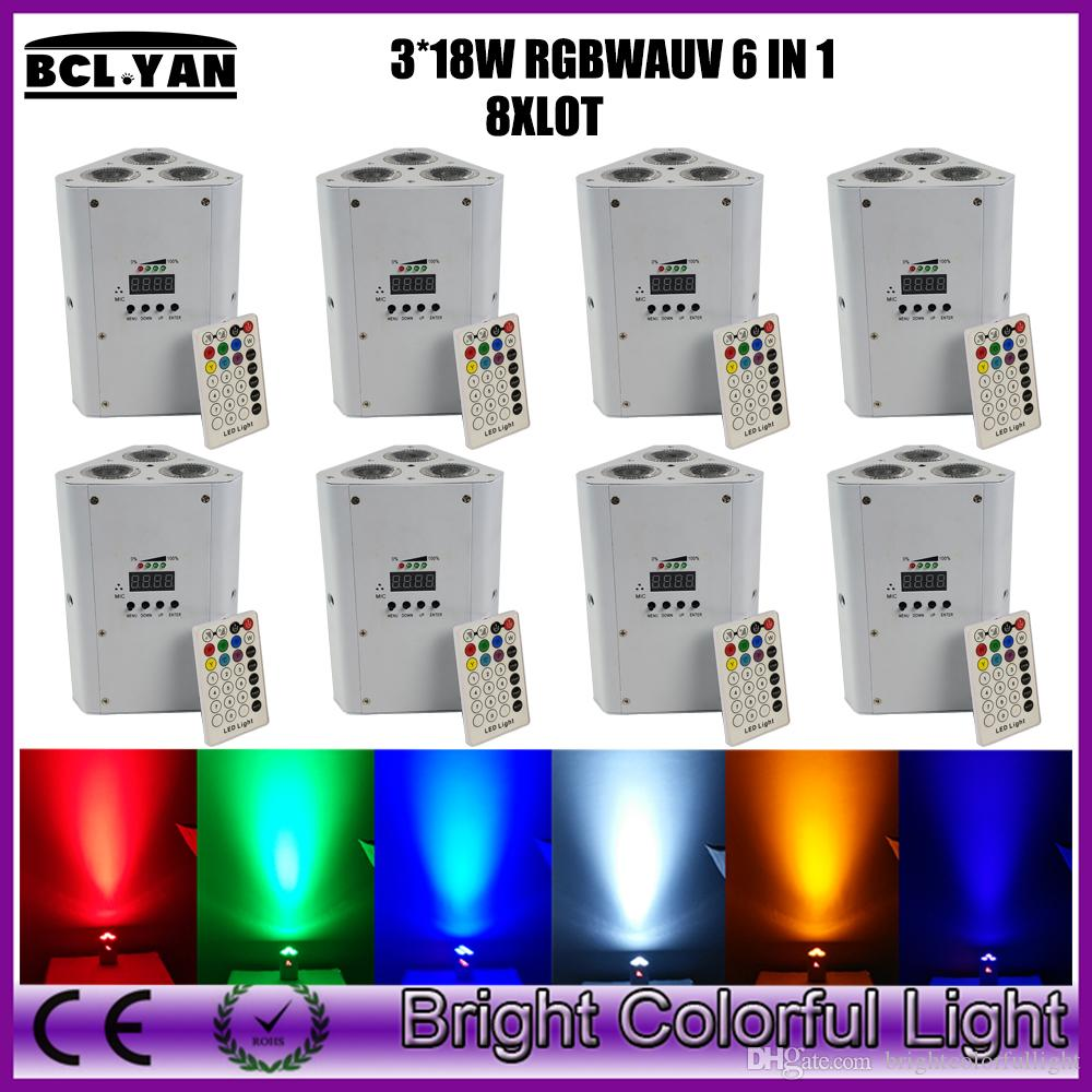 Newest 8XLOT MINI RGBWA UV 6 IN 1 Wedding decorative powered led par up lighting rechargeable battery wirless dmx wedge bar