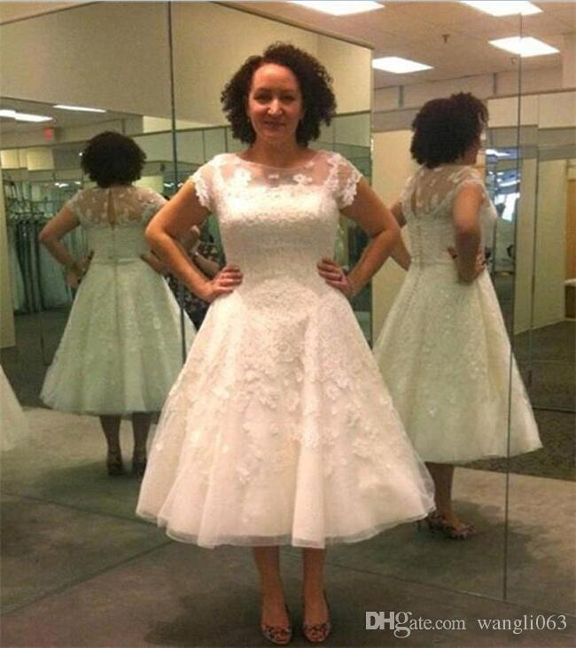 Plus Size Tea Length Wedding Dresses Vintage Beaded Lace Sheer Neckline  Short Sleeves Keyhole Country Style Bridal Gowns Canada 2019 From  Wangli063,