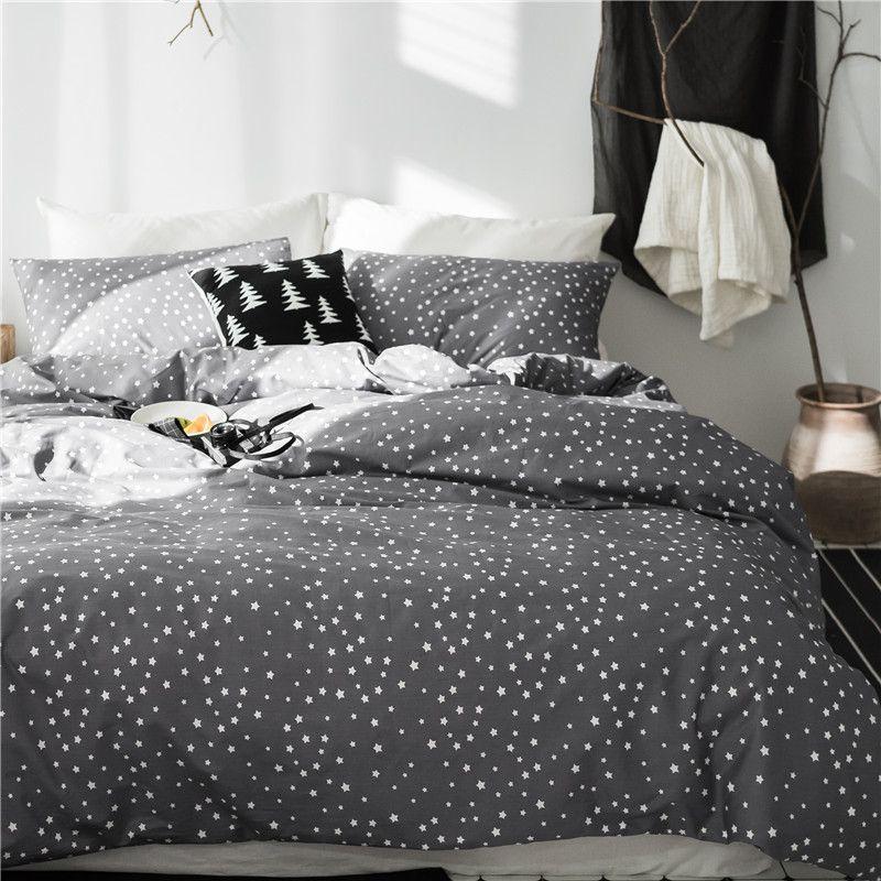 Twin queen king size 100%cotton star print grey Bedding set for kids boys girls cute bed set duvet cover bedsheet linen set
