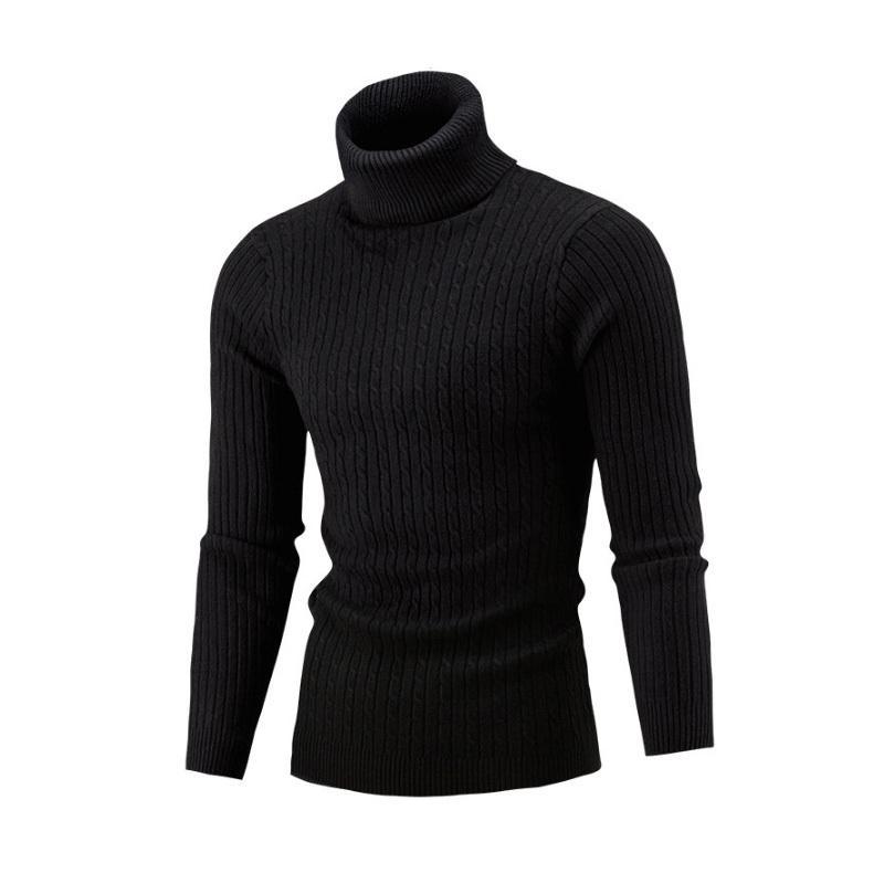 NUEVO 2018 Invierno Hombre Moda Suéteres y Jerseys Hombres Marca Suéter Hombre prendas de vestir exteriores Jumper de punto de cuello alto suéteres M-XXL L18100803