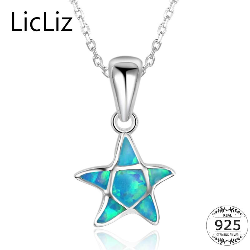 Licliz 925 plata esterlina estrella collares pendientes para mujer azul ópalo de fuego collar collar animal collar estrellas de mar cadenas LN0255 Y18102910