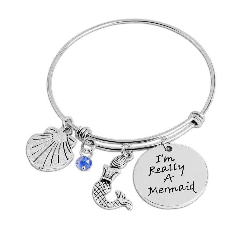 Creative I'm Really A Mermaid Bangle for Little Girl Bracelet Women Animal Mermaid Shell Party Dress Adjustable Bracelets and Bangles