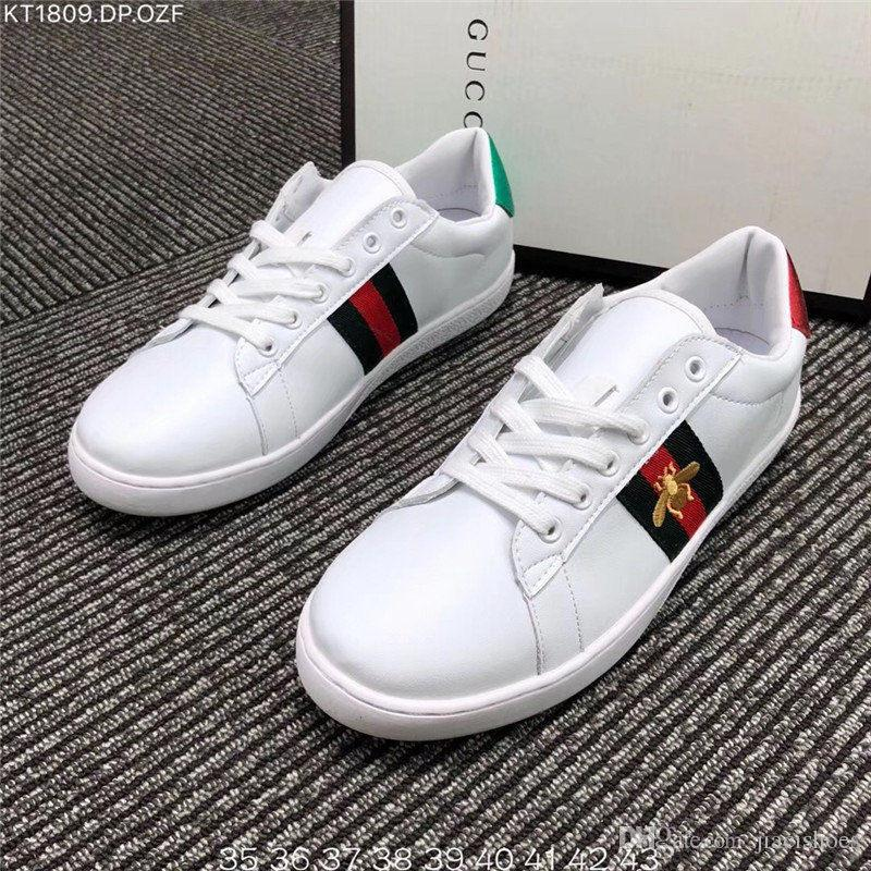 991abec85 2018 Hot BEES Primeknit men women⠀Gucci Running Shoes OG Classic Triple  Black white Beige Oreo Athletics Sports trainer ACE Sneakers 36-44