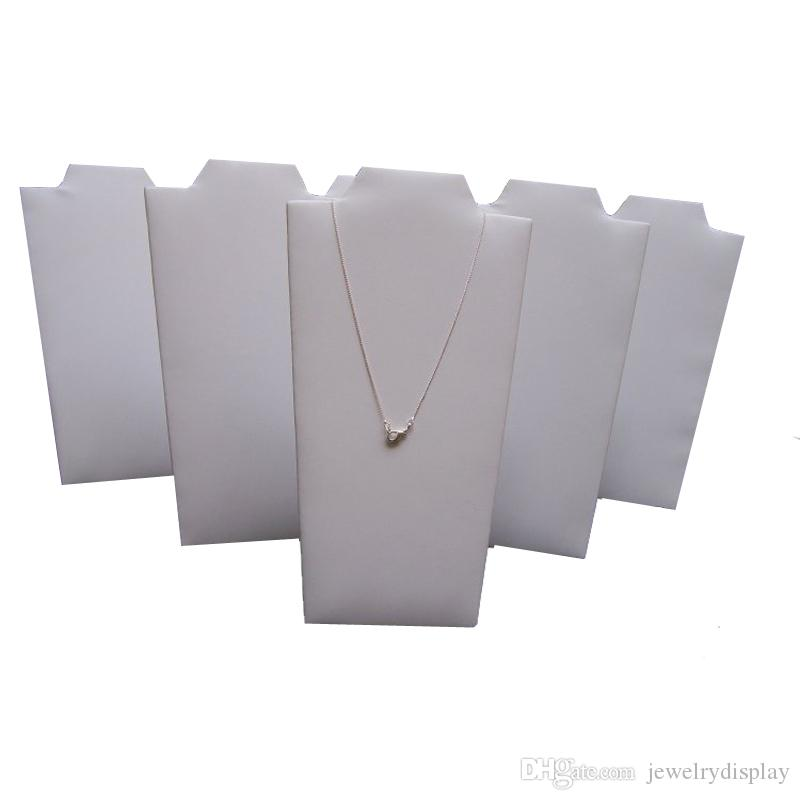 Jewelry Display Props White Leatherette Necklace Jewelry Stand Foldable Pendant Easel Holder