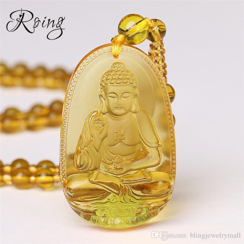 Roing Citrine Necklace Pendant Natural Stone Buddha Guardian Bead Chain Lucky Gift For Women Men Crystal Gravity Jewelry F003