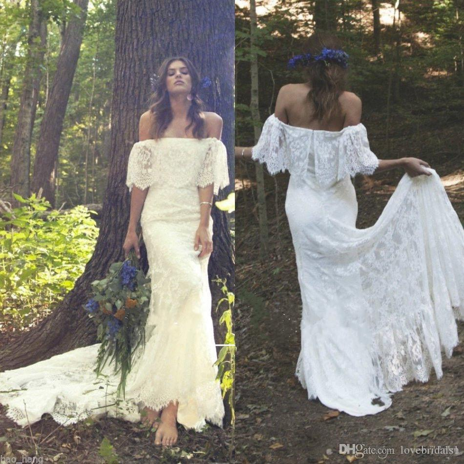 2018 Charming Full Lace Wedding Dresses With Bateau Neckline Short Sleeve Sweep Train Bridal Gowns Custom Size