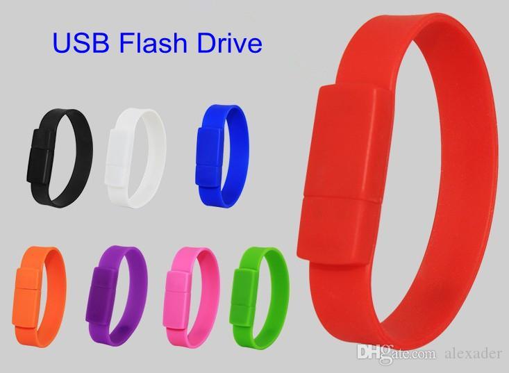 Tam Kapasiteli Silikon Bilezik Bilek Bandı 4 GB 8 GB 16 GB 32 GB USB 2.0 Flash Sürücü Kalem Sürücü Stick U Disk Pendrives