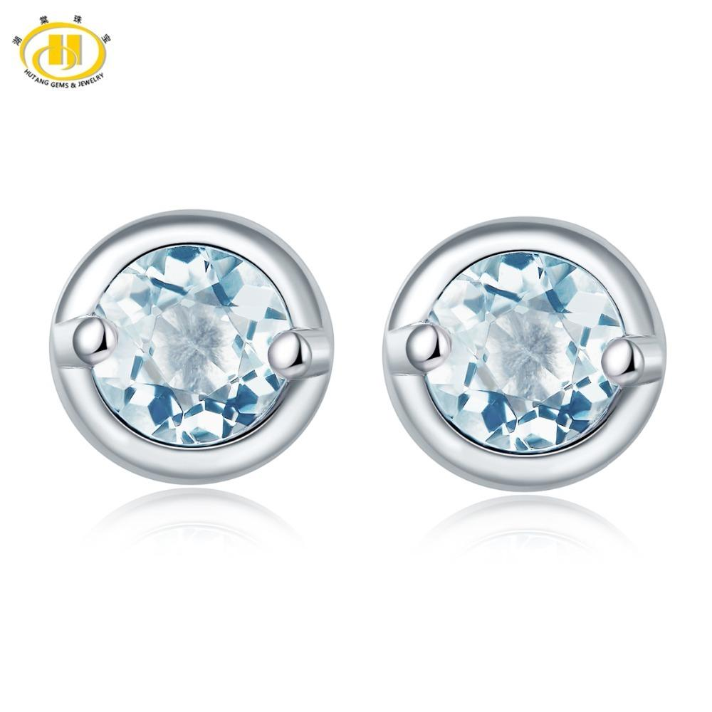Hutang Stone Jewelry Natural Gemstone Aquamarine Stud Earrings Solid 925 Sterling Silver Fine Fashion Jewelry For Birthday Gift Y18110110