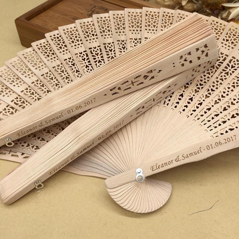 Free shipping Wholesale Personalized Wood Wedding Favours Fan Party Giveaways Sandalwood Folding Hand Fans ABANICO Decorations