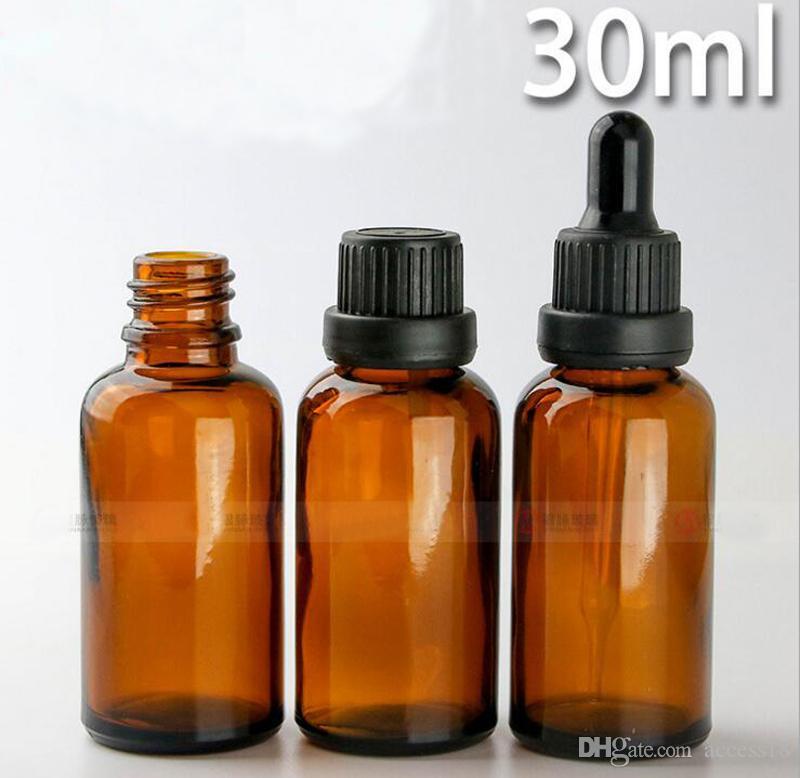 Szybka dostawa 30ml Puste butelki płynne 1 undurs Essential Oil Amber Bottonglass Butelka Dropper z czarnymi / złotymi pokrywkami