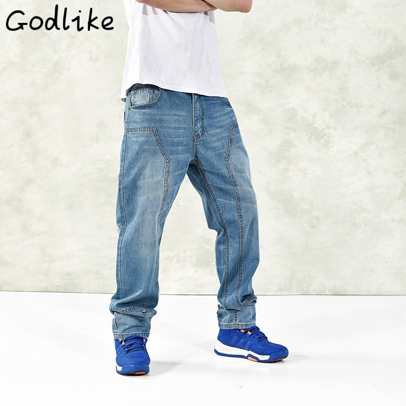 GODLIKE Erkek modası rahat hip-hop kot pantolon. / Erkeklerin büyük boy gevşek düz kot pantolon.