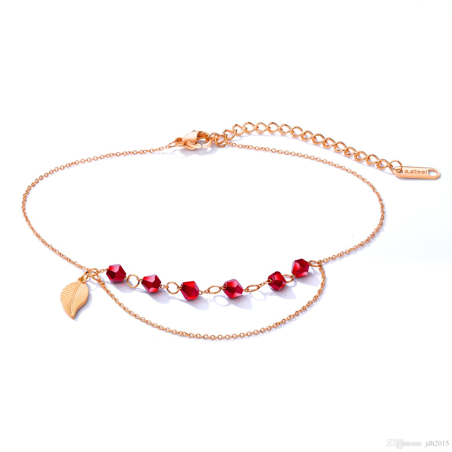 Summer Bohemian Ruby Red Crystal CZ Beads Tassel Chain Anklet Beach Bare Foot Chain