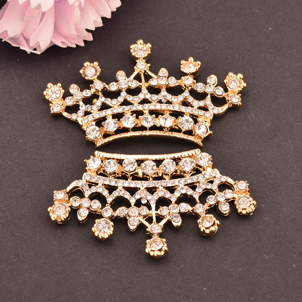 Rhinestone Tiara Crown Embellishment Flat Back 52MM*30MM 20pcs/lot Gold Color DIY button