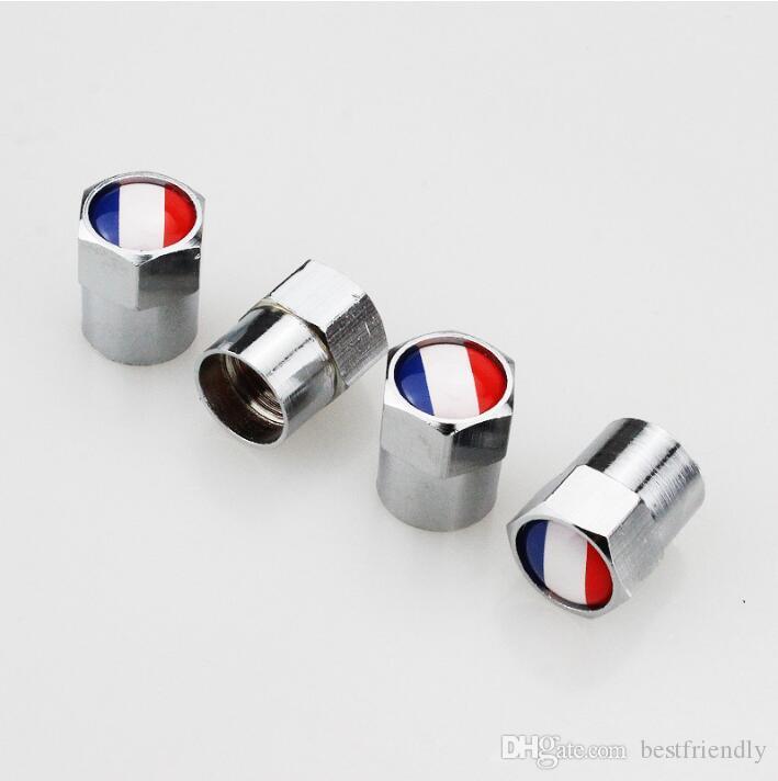 Franse Vlag Mini Metalen Bandenventiel Kleppen Band Dust Cap Caps MT Auto Badge Embleem Badges Automobiel Ventiel Cap Mini Valve Gasmondstuk