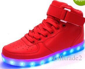 Eur 25-43 dance Led dance gold dorado luminoso rojo Se ilumina la carga USB high top Flashing en zapatillas de deporte Zapatos casuales para adultos y niños ma