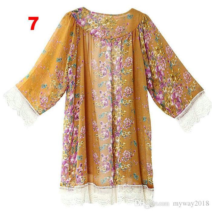 Compre Patrón De Flores Borla De Encaje De Las Mujeres Chal Kimono ...