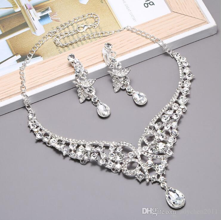 Elegant Simulated Pearl Bridal Jewelry Sets Silver Color Leaf Crystal Necklaces Earrings Sets Wedding Jewelry Cheap in Stock Princess