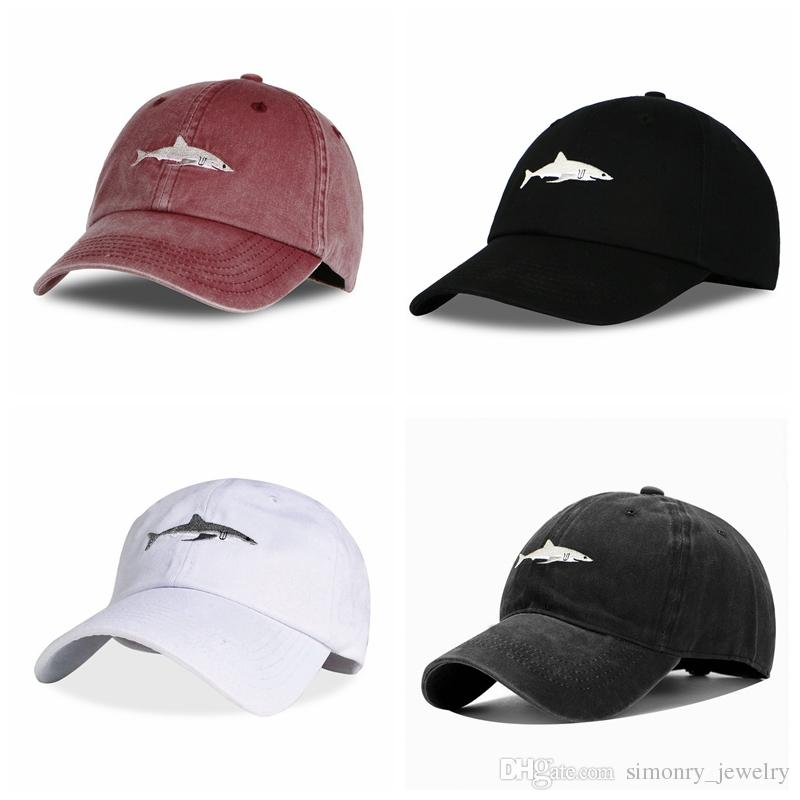 Women Men Solid Color Fashion Cartoon Shark Embroidery Sports Hat Adjustable Baseball Cap