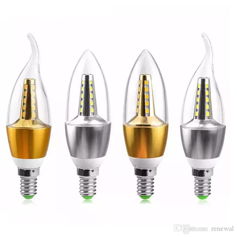 E14 Lámpara de vela LED 110V 220V 5W Foco LED Bombilla Enfriamiento de aluminio AC85V-265V Luz de vela Iluminación de araña de cristal