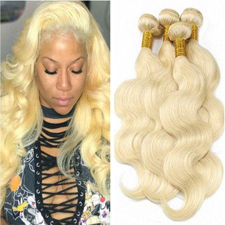 Jungfrau-brasilianische blonde Menschenhaar-Webart-Extensions-Körper-Welle # 613 blonde Jungfrau-Haar-Bündel-Angebote 4Pcs Menschenhaar-spinnende doppelte Wefts