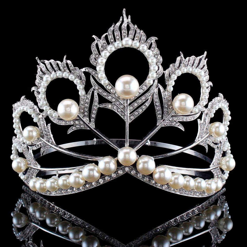 Chegada nova Tamanho Grande 2017 Miss Universo Mesmo Coroa Completa Rodada Ajustável Prata Pérola Peakcock Pena Tiara Pageant S919