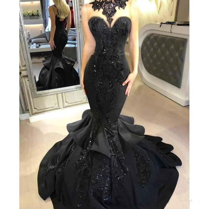 Dubai Árabe Sirena negra Vestidos de baile 2018 Cuentas con volantes de lentejuelas Hasta el suelo Encaje Apliques Vestidos formales Ropa de noche PROM DRESSES