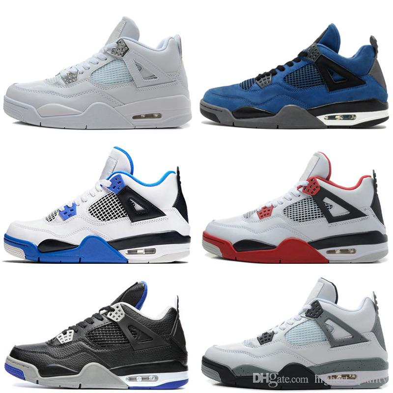 Baratos 4 4S Homens tênis de basquete Motosports azul Royalty cimento branco Pure dinheiro Toro Bravo Bred Cavs Alternate 89 sneakers # 1