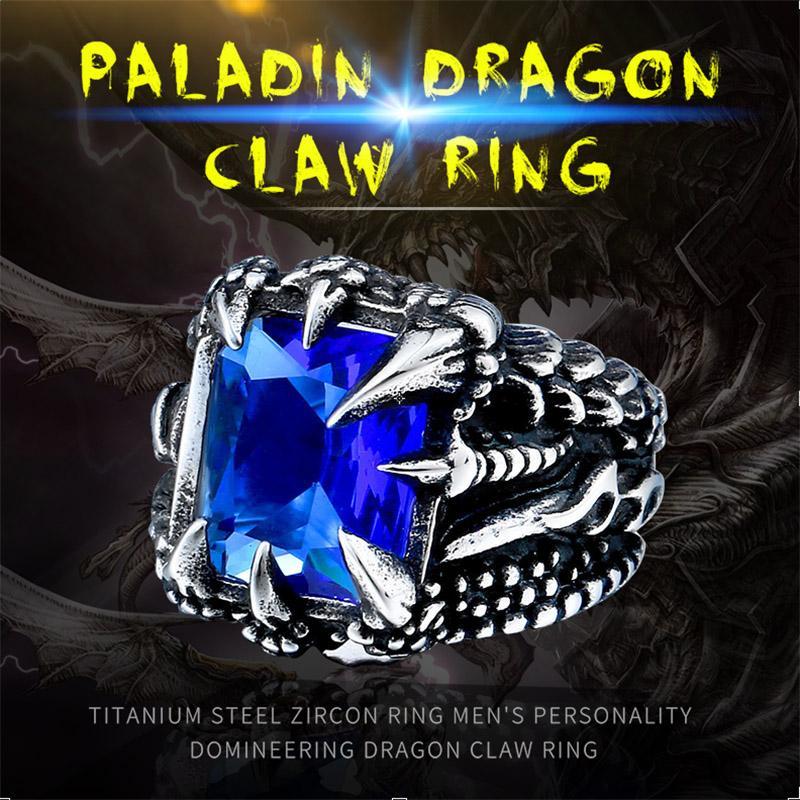 Anneau de griffe de dragon cool avec pierre rouge / bleu / noir en acier inoxydable CZ Ring Man de Hiqh bijoux de qualité prix de gros BR8-178