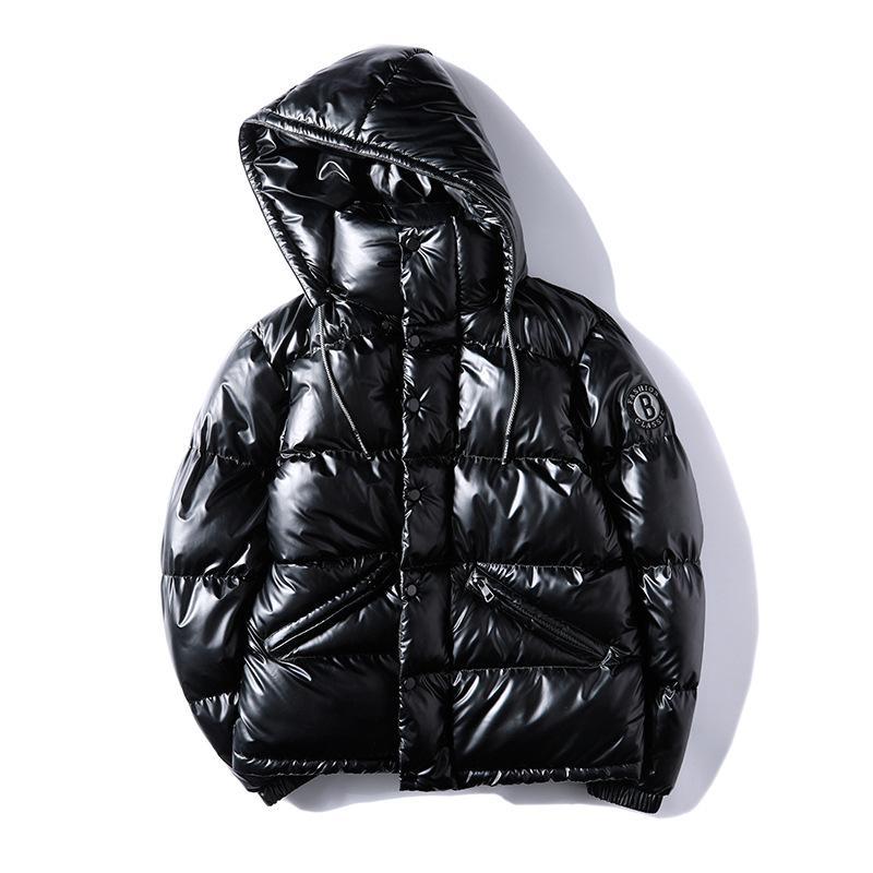Erkek Sıcak Kış Ceket Rahat Giyim Gümüş siyah Kalın Palto Yama Tasarım Parka Erkek Yeni Moda Yüksek Sokak Kapşonlu Coat