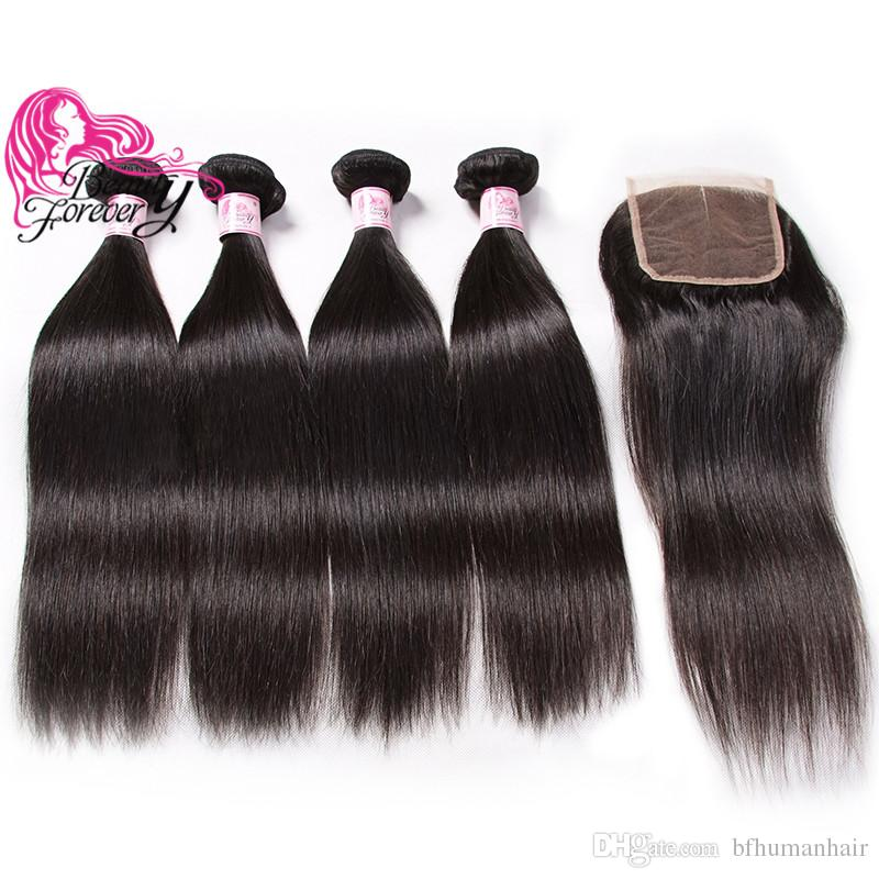 Beauty Forever Indian Straight 8-30inch Hair Weave Bundles Buy 4pcs Virgin Hair Get One Free Lace Closure Unprocessed Human Hair Extensions