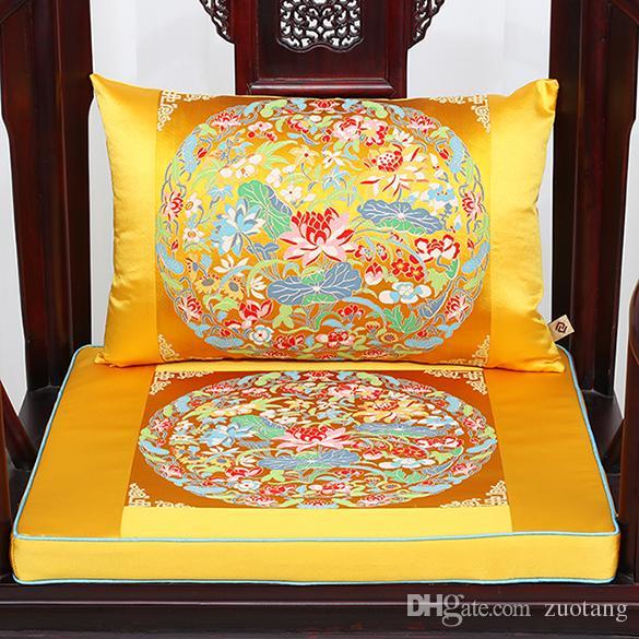 Luxury Chinese Dragon Crane Kirin Chair Seat Cushion High End Thicken Silk Brocade Lumbar Pillow Decorative Cushions for Sofa