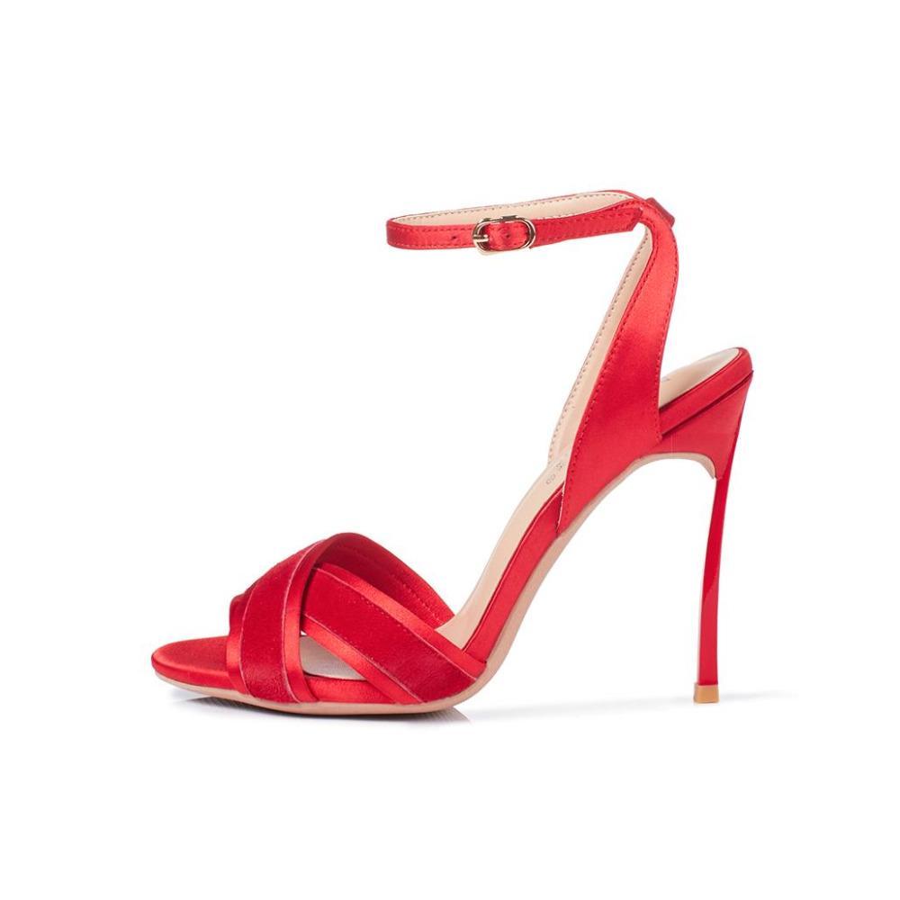 Офис Леди сплошной красный черный стадо кожа лодыжки пряжки ремень сандалии женщины элегантный 10 см высокий тонкий каблук платье обувь Бесплатная доставка