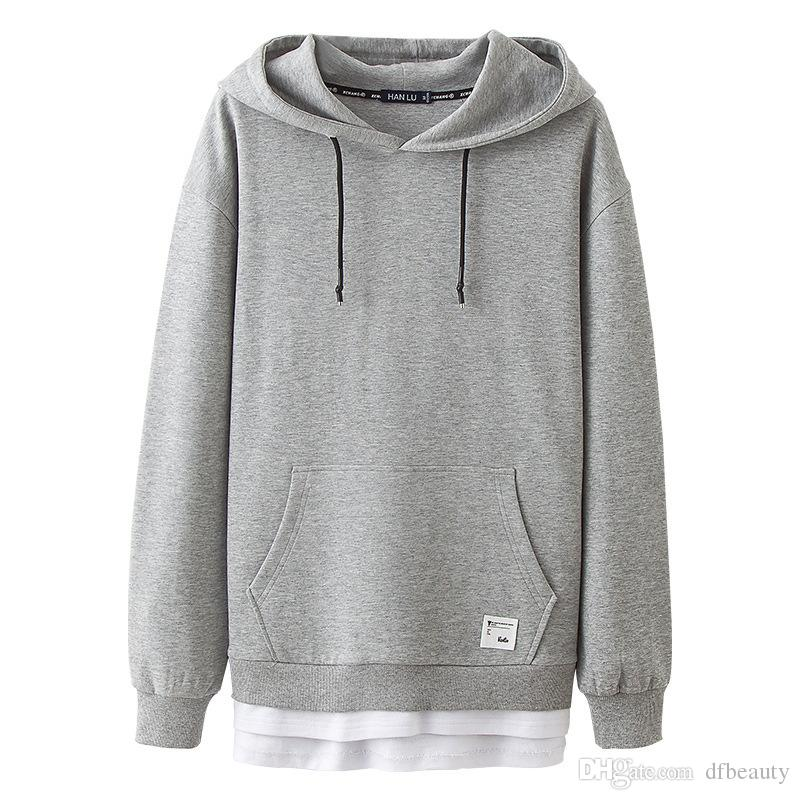 Mans Stylish Pure Color Hooded Long Sleeve Pullover Drawstring Gorilla with Headphones Hoodie Sweatshirt