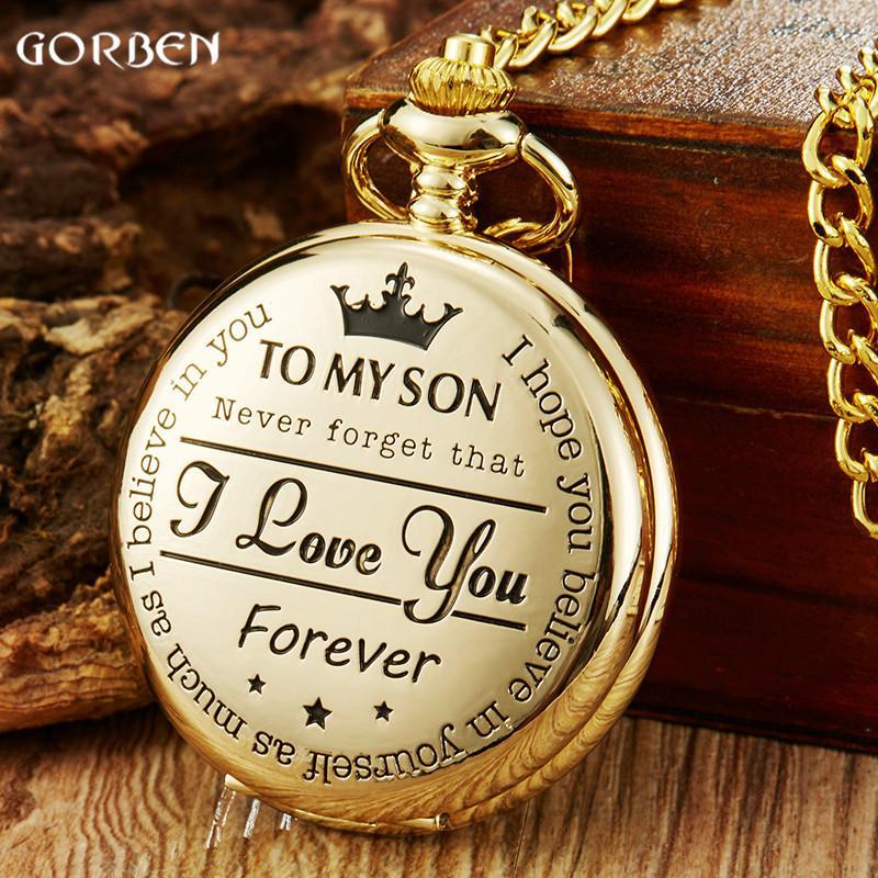 Regalos colgante Steampunk relojes de los niños Niños Cadenas de oro de la vendimia Para Mi Hijo bolsillo del cuarzo del reloj de bolsillo TE AMO collar