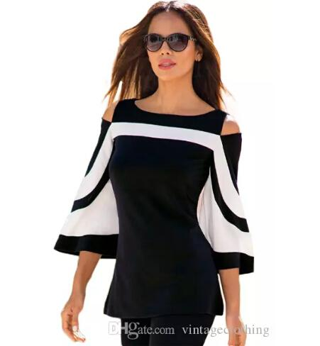 block Bell Sleeve Cold Shoulder Top