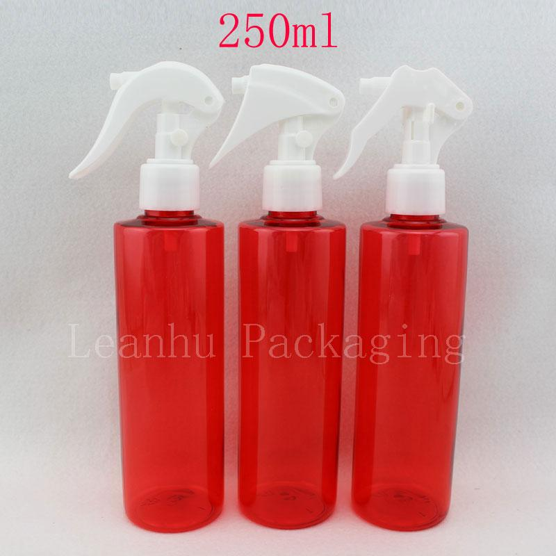 20 X 250ml empty colored plastic perfume bottle, 250cc water pumps used for flowers,red makeup bottle trigger sprayer pump