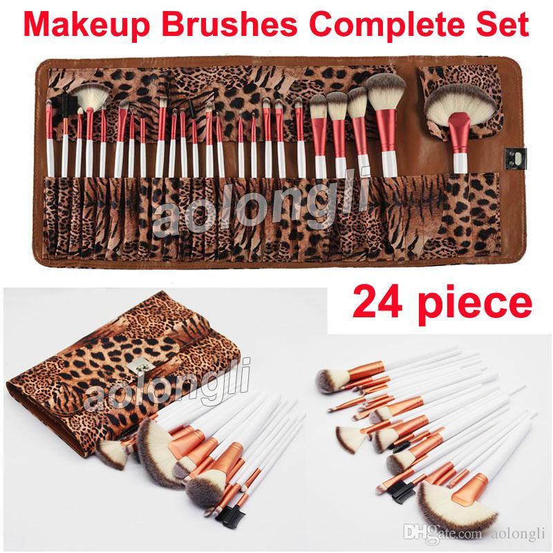 24 pinceaux de maquillage pinceau léopard ensemble complet brosses pour le visage et les yeux kit fard à paupières