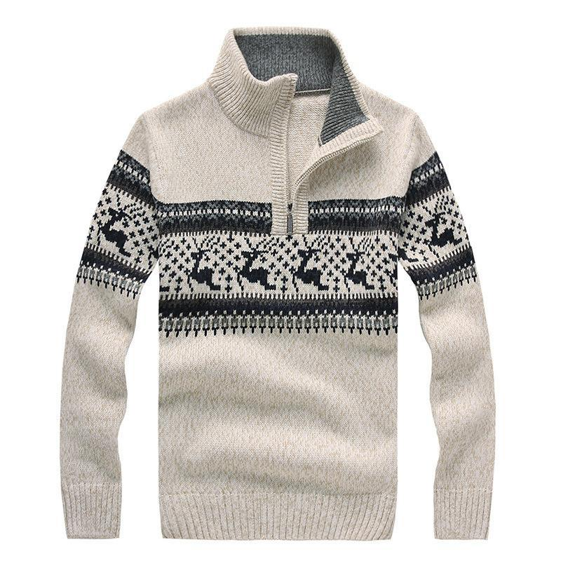 Mens Christmas Sweater.2019 Brand New Mens Christmas Sweaters Stand Collar Fashion Deer Jacquard Zipper Wool Thicken Casual Sweater For Men Pullovers Bf7731 From Buttonline