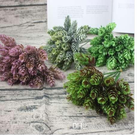 1 small beam simulation green plant cheap artificial plastic flower home table decoration wedding diy candy