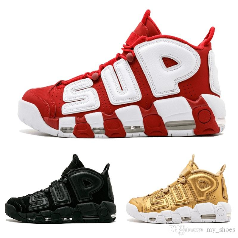 2019 2018 Air More Uptempo 96 QS Olympic Varsity Maroon Mens Basketball Shoes CHI Black Gold 3M Scottie Pippen Uptempo Sports Sneakers 41 47 From